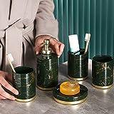 Guoc Conjuntos de Accesorios de baño Baño de cerámica Inodoro Enjuague bucal Juego de Tazas de Cepillo de Dientes Baño de mármol Juego de 5 Piezas (Verde,Blanco,Negro)