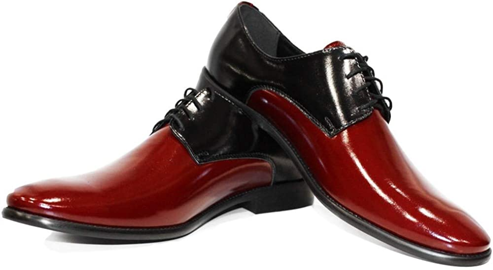 Modello Shineno - Handmade Italian Mens Color Red Oxfords Dress Shoes - Cowhide Patent Leather - Lace-Up