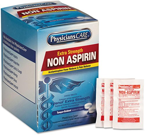 PhysiciansCare Non Aspirin Acetaminophen Pain Reliever Medication, 125 Doses of Two Tablets, 500mg