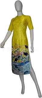 195designs Yellow Embroidered Fabric Ao Dai Lotus Flower Modern Lunar New Year   Tết Cách Tân Áo Dài Vải Gấm