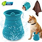 Idepet Dog Paw Cleaner Cup with Towel Pet Foot Washer Protable Dog Cleaning Brush for Puppy Cats Massage Grooming Dirty Claws(Blue)