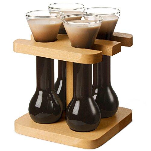 bar@drinkstuff Lotto di 4 bicchieri da 50 ml, con supporto in legno, nel mini stile Yards Of Ale