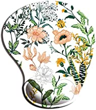 Dooke Ergonomic Mouse Pad with Wrist Support, Cute Mouse Pads with Non-Slip Rubber Base for Home Office Working Studying Easy Typing & Pain Relief Beautiful Floral