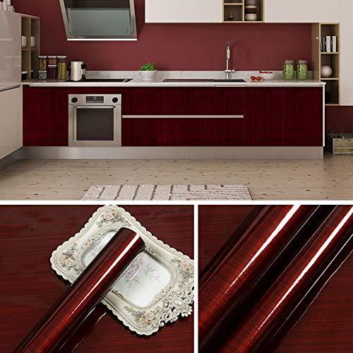 Zelfklevend PVC-behang, waterdicht niet-giftig behang, tv-achtergrondbehang, gemodificeerde doe-het-zelfsticker, eenvoudige sticker, woonkamer slaapkamer keuken, kluis 60 * 500cm Wine Red Wood Grain 60 Cm * 5 M Long / Piece