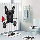 DHYWGS Divertido 3D Bulldog francés Cortina de Ducha Cortinas de baño Set Frenchie Dog Toalla Alfombra Alfombra para Alfombra de Ducha Cachorro Mascota Decoración Regalo-180cm*180cm