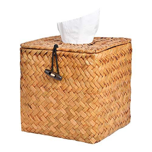 Akamino Tissue Box Cover Square Woven Facial Tissue & Napkin Holder Pumping Paper Case Dispenser for Home Office Car Decoration