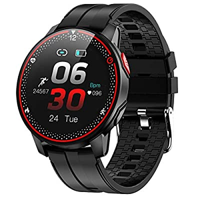 """EIGIIS Smart Watch Fitness Tracker Watch with Heart Rate Blood Pressure Monitor Sleep Tracking Activity Tracker with 1.3"""" Touch Screen IP68 Waterproof Pedometer Smartwatch for Women and Men (Black)"""