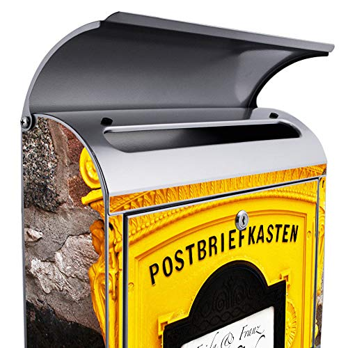 Banjado Stahl Briefkasten A4 Einwurf 2 Schlüssel und Zeitungsrolle Historischer