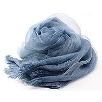 シルク混ストール 2枚合わせ 透け感 上品 ふわっと柔か UV対策 ウオッシャブル プレゼント最適 (ネイビー)