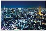 APAZSH Posters para Pared Póster Cuadros de la Ciudad de Tokio Decoracion Horizonte Noche Metrópolis Tokio Tower Panorama Japón Cuadros cosmopolita de Nippon 60x90cm x1 Sin Marco