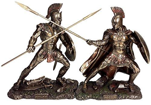 Achilles vs Hector Battle of Troy Greek Mythology Statue Antique Bronze Finish