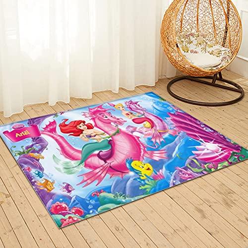 Large Puzzle The Little Mermaid Shaggy Area Rug,Alfombra de piel de conejo sintético natural ultra suave, alfombra mullida de lujo para sala de estar, dormitorio, cama