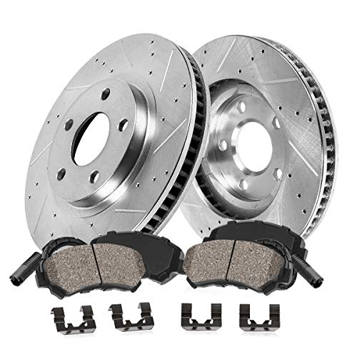 Callahan CDS03654 FRONT 373.88mm Drilled/Slotted 5 Lug [2] Rotors + Pads + Clips + Sensors [ fit BMW 550i 550i 750 ]