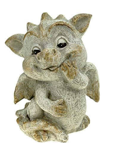 G. Wurm GmbH Süßer Garten Drache stehend Steinoptik 17 cm Figur Gartenfigur Glück Skulptur