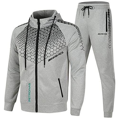 Merce_des Am_g F1 - Chándal de punto de onda para hombre, con capucha, chaqueta y pantalones con cremallera, chaqueta y chaqueta de estilo informal (XL, rojo)