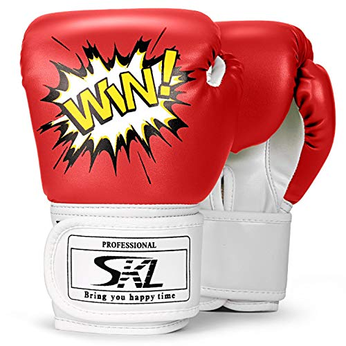 SKL Kids Boxing Gloves 4oz Training Gloves for Children Cartoon Sparring Boxing Gloves Training Mitts Junior Punch PU Leather Age 5-12 Years(Red)