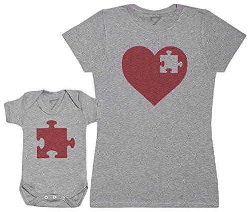 Heart and Puzzle Piece - Ensemble Mère Bébé Cadeau - Femme T Shirt & bébé Bodys - Gris - M & 12-18 Mois