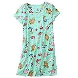 Amoy madrola Women's Cotton Nightgown Sleepwear Short Sleeves Shirt Casual Print Sleepdress XTSY108-Beach-XL