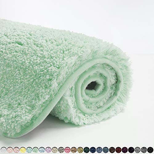 Suchtale Bathroom Rug Non Slip Bath Mat for Bathroom (16 x 24, Pale Green) Water Absorbent Soft Microfiber Shaggy Bathroom Mat Machine Washable Bath Rug for Bathroom Thick Plush Rugs for Shower