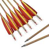 SHARROW 12pcs Flechas de Carbono 30 Pulgadas Spine 340 con Plumas de Pavo para Arco Compuesto Recurvo Flechas de Caza (6)