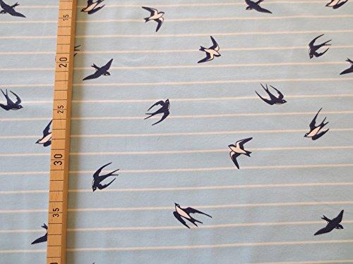 Glünz Jersey Schwalbe hellblau weiß Geringelt / 0,5m / Damenstoff / 16,50€/m