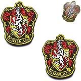 Harry Potter House of Gryffindor House Hogwarts, toppe ricamate termoadesive a colori, tattico militare morale emblema patch set distintivo per cappotti, giacca cappello zaino 10 x 8 cm 2 pezzi