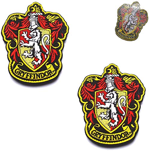 Harry Potter House of Gryffindor House Hogwarts Wappen, Vollfarbig, bestickt, zum Aufbügeln, taktisches Militär, Moral, Emblem für Mantel, Jacke, Hut, Rucksack, 10 x 8 cm, 2 Stück
