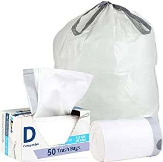 Plasticplace Custom Fit Trash Bags ¦ Simplehuman Code D Compatible (50 Count) ¦ White Drawstring Garbage Liners 5.2 Gallon / 20 Liter ¦ 15.75