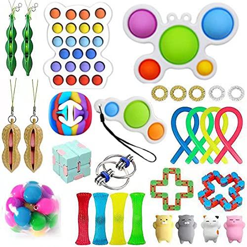 Fidget Toys Pack - Push Bubble Pop Toy Juego de Juguetes para aliviar el estrés y la ansiedad para niños autistas Adultos Ansiedad Autismo Juguetes Especiales para Regalos de Fiesta de cumplea