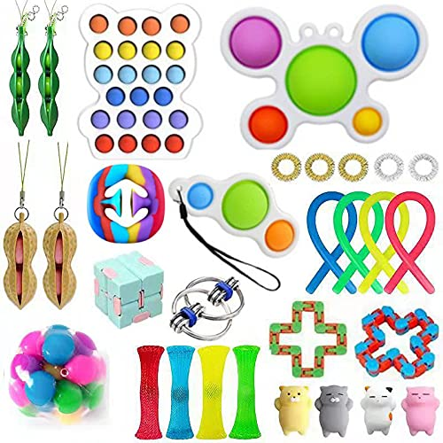Sensory Fidget Toys Pack, Stressabbau & Angstlinderung Tools Bundle Figetget Toys Set für Kinder Erwachsene, Autistische ADHS Spielzeuge, Stressbälle Infinity Cube Marble Mesh Wacky Track Fidgets...