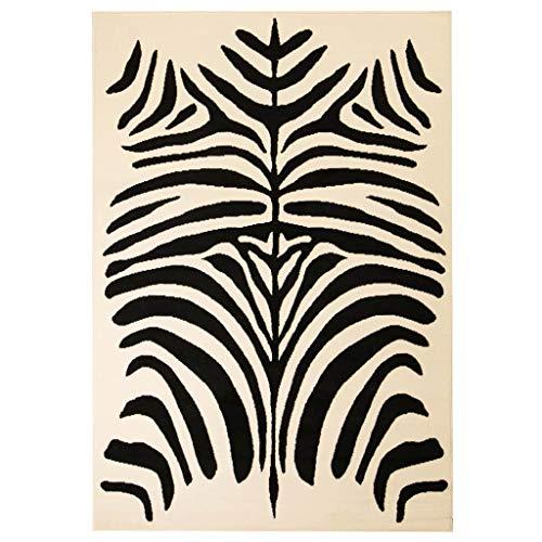vidaXL Tappeto Moderno Motivo a Zebra 140x200 cm Beige/Nero Passatoia Stuoia