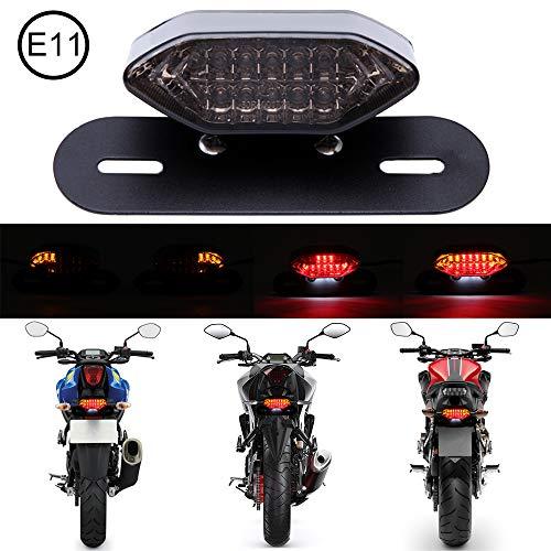 DREAMIZER Motorrad LED Rücklichter, 12V Motorrad Rückseite Licht Brechen Blinker Kontrollleuchte Lizenz Lampe(Rauch)