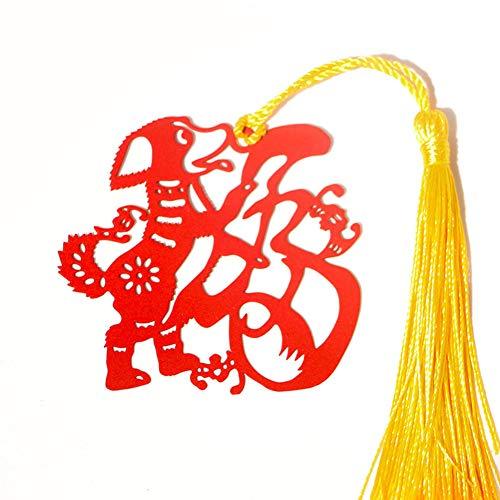Segnalibri in metallo creativi, nappe vintage, stile cinese, aspetto cane zodiacale, regalo perfetto per gli amanti della lettura, rosso, 2 pezzi