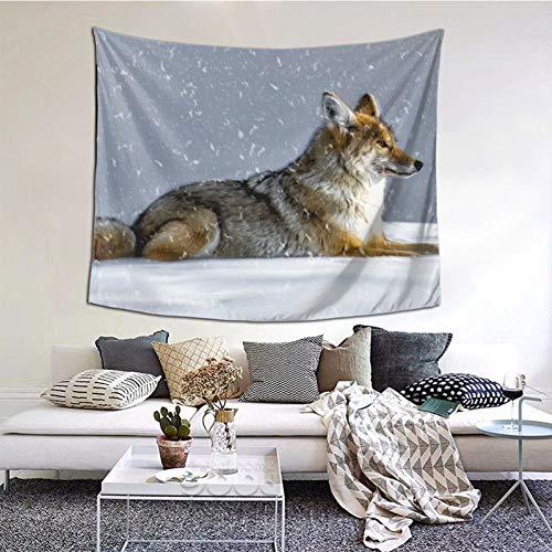 Perfect household goods Coyote Wolf - Tapiz de invierno para colgar en la pared, diseño vintage, tapiz de microfibra de melocotón, decoración del hogar, 152 x 132 cm