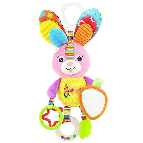 Baby Spielzeug, Isuper Hochwertiges Kleinkindspielzeug Plüschrassel mit Ringen zum Beißen, Greifen und Knistern- Papier, Spiegel für Babys Kleinkinder ab 0 Monat (Süßes Häschen)