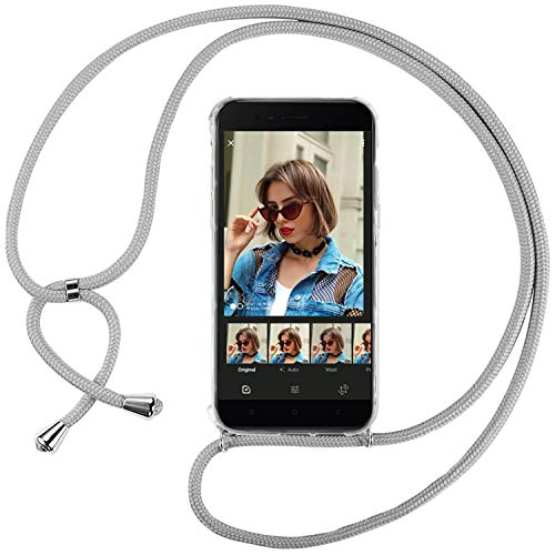 Ingen Funda con Cuerda para Xiaomi Mi A1 - Carcasa Transparente TPU Suave Silicona Case con Colgante - Gris
