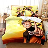 MANXI Naruto Anime Bedding Set Pinted Japan Anime Bed Set 3Pcs Soft/Breathable Comforter Cover (Queen (90'' x 90''))