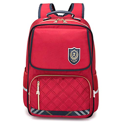 TFTREE escuela primaria niños y niñas mochila escolar para niños 1-3-4-6 grado mochila de gran capacidad 6-13 años estilo británico rojo azul-red