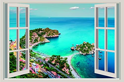 ADESIVO DA MURO - Isola Bella Sicilia 3D Window - Adesivo murale Wall Sticker Decalcomania In Vinile Arte Murale Decor (150x100)