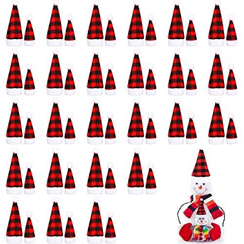 50 Piezas Mini Gorros de Navidad, 2 Tamaños Mini Sombreros de Papá Noel a Cuadros Buffalo, Mini Gorros de Muñecas de Navidad para Árbol de Navidad Botella Manualidades Decoración