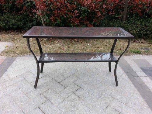 Pebble Lane Living Outdoor Aluminum Riviera Console Patio Table - Bronze