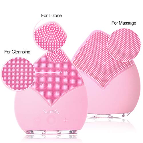 【Sunmay Leaf】SUNMAY Sonic Brosse Nettoyante pour le visage et Massage, FDA Grade Silicone, Rechargeable Imperméable Anti-Aging Visage Exfoliator Body Makeup Tool Version mise à jour