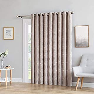 LinenZone Roberta - 1 Patio Extra Wide Total Blackout Grommet Window Curtains - Blocks 100% Sunlight - 4 Layers High Density & Noise Reduction Fabric - Energy Efficient (110