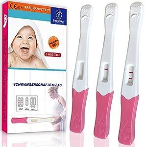 Test de embarazo 3 Pruebas - Prueba de Embarazo Resultado Rápido Formato Económico,20 mIU/ml