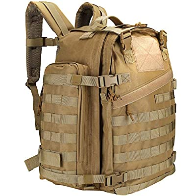 ProCase 46L Military Tactical Backpack, Large 3 Day Outdoor Military Army Assault Pack Molle Bag for Hunting, Trekking, Camping and Other Outdoor Activities -Khaki