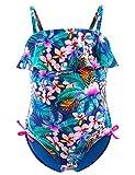 Maillots de Bain Une Pièce Filles, 50+ UPF UV Protection Tankini, Floral Ruffle Costume Tropical pour Plage Baignade Enfant ,Floral,4-5 ans