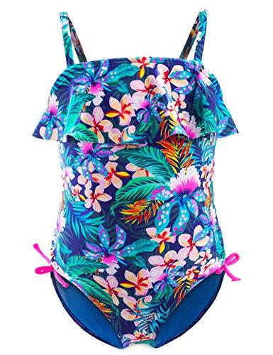 IKALI IKALI Mädchen Badeanzug Tankini, Blume gedruckt Bademode für Strand Baden Kleinkind/Kinder, Marine, 5-6Jahre