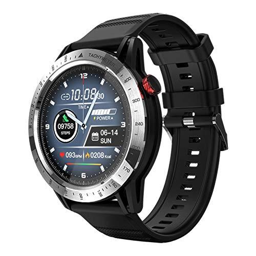 LZXMXR Reloj inteligente, reloj inteligente de 1.3 pulgadas, para mujer, hombre, brújula al aire libre, resistente al agua, llamada, deporte, fitness (color plateado)