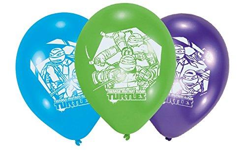 Amscan–450302–6er-Packung Luftballons aus Latex, Motiv: Ninja Turtles, 23cm