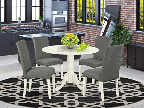 """East West Furniture 5Pc Round 42"""" Kitchen Table With Two 9-Inch Drop Leaves And Four Parson Chair White Finish Leg And Linen Fabric-Gray Color, 5"""